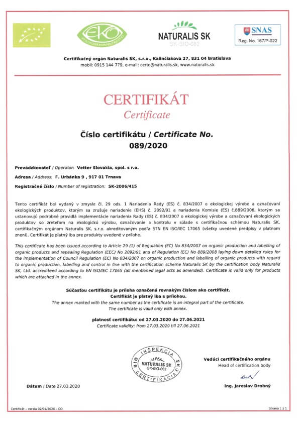Eko Bio Certifikát Vetter Slovakia | FruTree