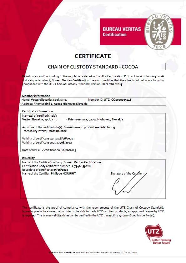 UTZ Certifikát Vetter Slovakia   FruTree