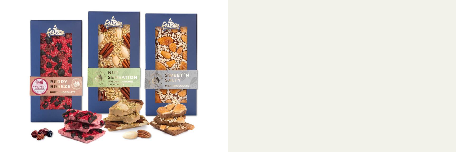 Nové výrobky z jemné čokolády, sušeného ovoce a ořechů s garancí čisté a přirozené chutě přímo od výrobce FruTree