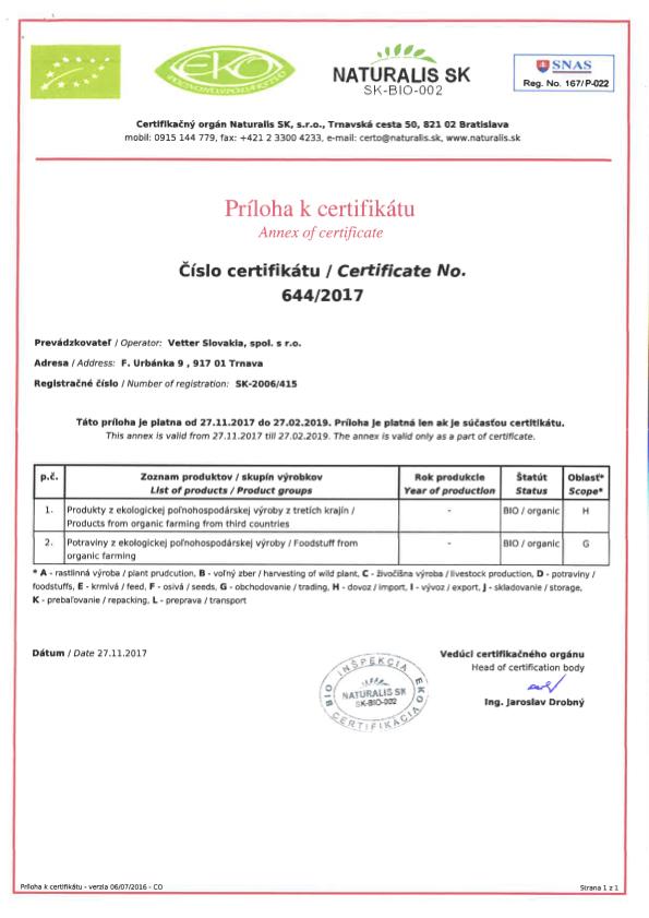 Eko Bio Certifikát Vetter Slovakia